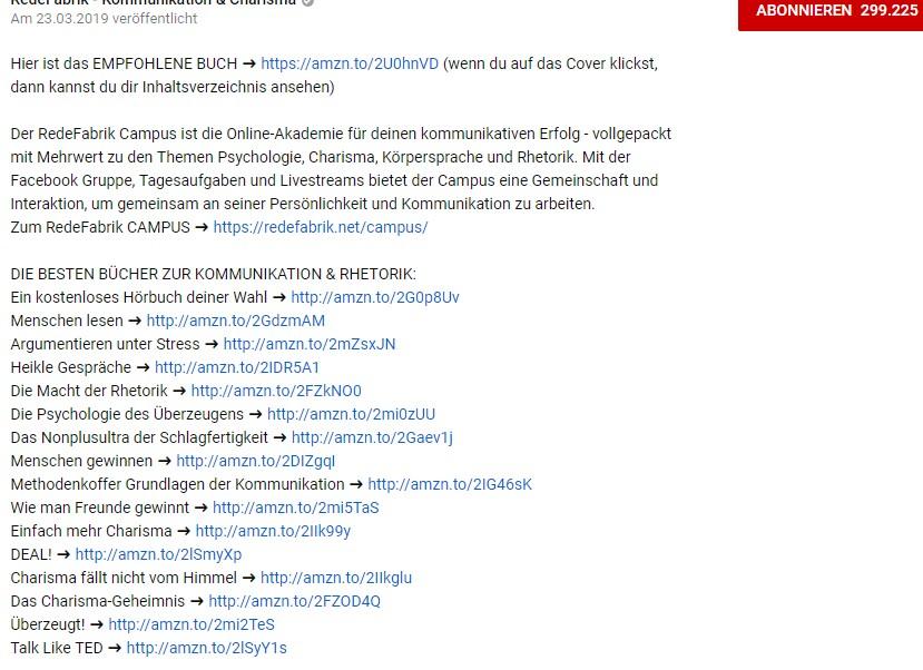 So wie man es hier sehen kann, bringt mal in der Beschreibung zu seinem YouTube-Clip Links zu Affiliate-Partnern wie hier zu Amazon unter. Klickt der Zuschauer auf einen solchen Affiliate-Link, dann bekommt der Setzer des Links für alle vom Zuschauer getätigten Käufe eine Provision. Der Preis bleibt für den Zuschauer unverändert. (Grafik: schwarzer.de, #1)